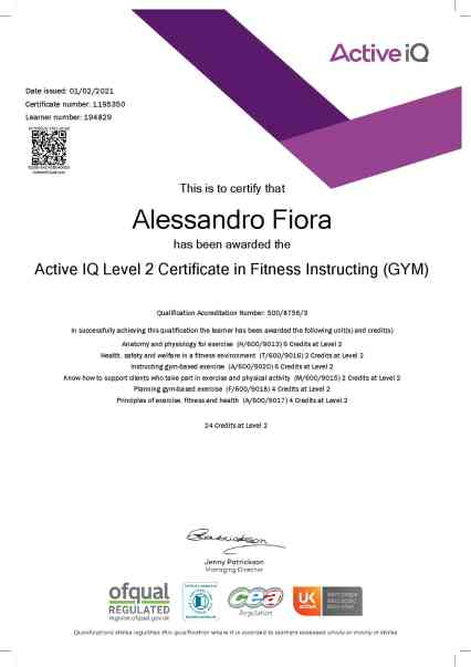 eCertificate Fiora Alessandro_Active IQ Level 2 Certificate in Fitness Instructing (GYM)