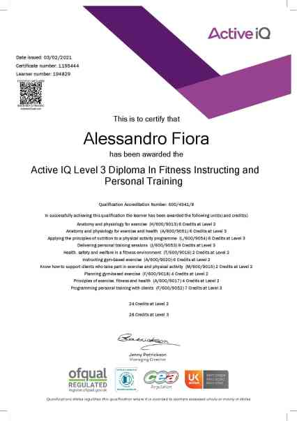 eCertificate Fiora Alessandro_Active IQ Level 3 Diploma In Fitness Instructing and Personal Training